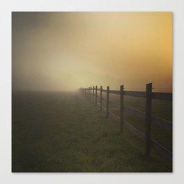 Misty Sunrise on the Farm Canvas Print