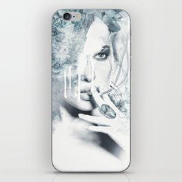 Portrait of a girl with vices iPhone Skin