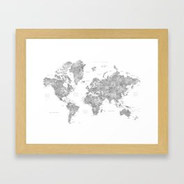 Grayscale watercolor world map with cities Framed Art Print