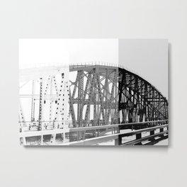 Black and White Color Block Bridge Metal Print