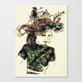 Birds Nest Hat Oriental Dress Girl  Canvas Print