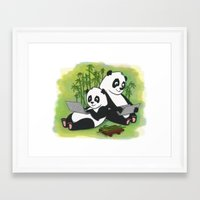 pandas Framed Art Prints featuring Pandas by Lisidza's art
