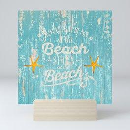 Happy Beach Life- Saying on aqua wood Mini Art Print
