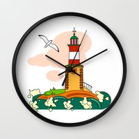 lighthouse Wall Clocks featuring Lighthouse by LaDa