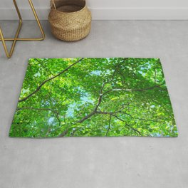 Canopy of Green, Leafy Branches with Blue Sky Rug