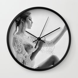Brigitte Bardot in the looking glass black and white photography - black and white photographs Wall Clock