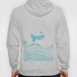 Doodle fish jumping out of the water Maritime Hoody