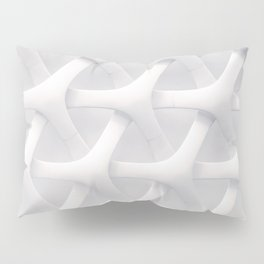 Pure White Architectural Linking Pattern Pillow Sham