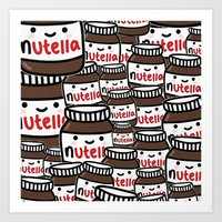 nutella Art Prints featuring Nutella Love by Pink Berry Patterns