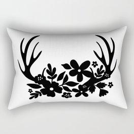 Floral Antlers Rectangular Pillow