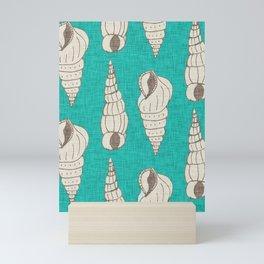 sea shell aqua Mini Art Print