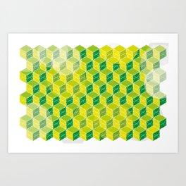 Green Isometric Pattern Art Print