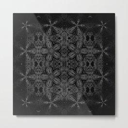 Black Slate Gray Floral Pattern Metal Print
