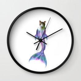 Cat Fish Purrmaid Pun Wall Clock