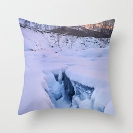 Sunrise at Stetind mountain in Norway in winter Throw Pillow