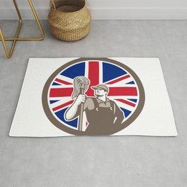 British Industrial Cleaner Union Jack Flag Icon Rug