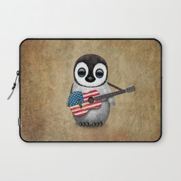 Baby Penguin Playing American Flag Acoustic Guitar Laptop Sleeve