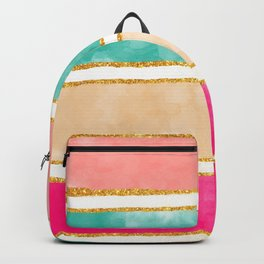 Modern Stripes Pink Red Watercolor Gold Glitter Backpack