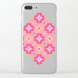 Circle and squares mosaic pattern in pink and orange Clear iPhone Case