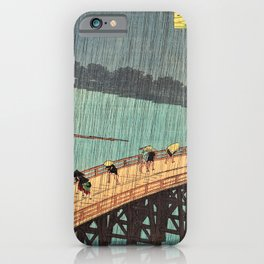 Utagawa Hiroshige - One Hundred Famous Views of Edo - Sudden Shower over Shin-Ohashi Bridge and Atake iPhone Case
