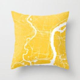 Yellow City Map of Philadelphia, PA Throw Pillow