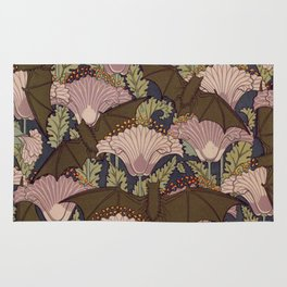 Vintage Art Deco Bat and Flowers Rug