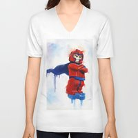 magneto V-neck T-shirts featuring Magneto Lego by Toys 'R' Art