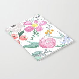 Floral Peony and Rose Watercolor Print  Notebook