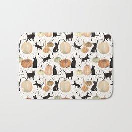 Black Cats Pumpkin Patch Fall Halloween Pattern Bath Mat