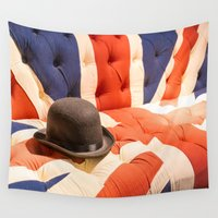 sofa Wall Tapestries featuring Black Bowler Hat on Union Jack Chesterfield Sofa by Johnnie Blackcrow