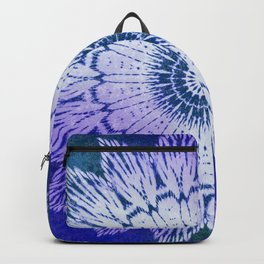 tie dye sunflower mandala in blues Backpack