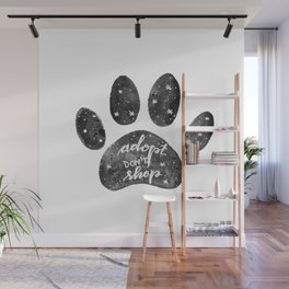 Adopt don't shop galaxy paw - black and white Wall Mural