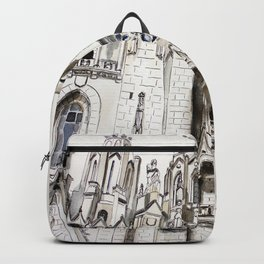 Gothic cathedral, architecture, original graphic art Backpack