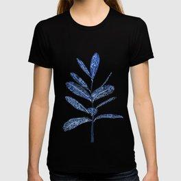 indigo ficus leaf watercolor T-shirt