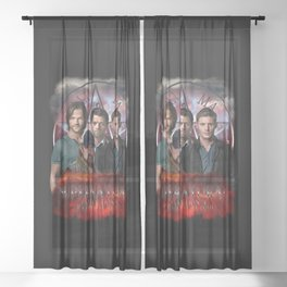 Supernatural Family dont end with blood 4C Sheer Curtain