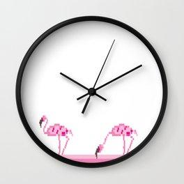 Pink flamingo pixel Wall Clock