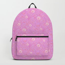 Abstract pink garden pattern in pink background Backpack
