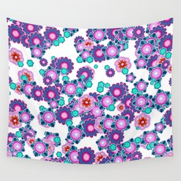 Happy Purple and Turquoise Flowers Wall Tapestry