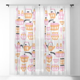 My Midcentury Modern Kitchen In Pink And Tangerine Sheer Curtain