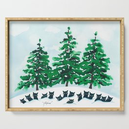 Veneto Whimsical Cats and Trees Serving Tray