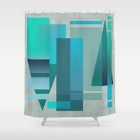 metropolis Shower Curtains featuring METROPOLIS | blue by Cheryl Daniels