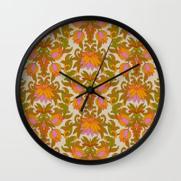 Orange, Pink Flowers and Green Leaves 1960s Retro Vintage Pattern Wall Clock