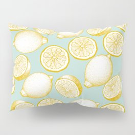 Lemons On Turquoise Background Pillow Sham