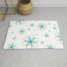 Blue Marine Flower Rug