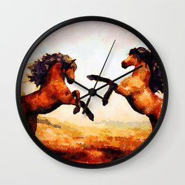 Horses playing Wall Clock