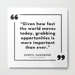 22  | Sheryl Sandberg Quotes | 190902 Metal Print
