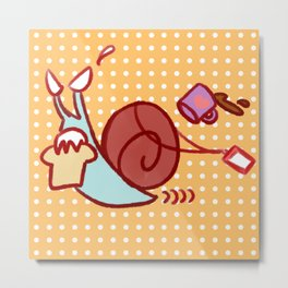 Late For Work Snail Metal Print