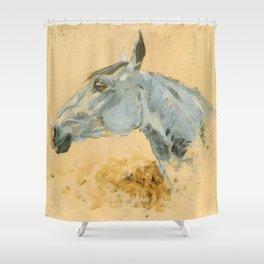 """Henri de Toulouse-Lautrec """"White Horse 'Gazelle'"""" Shower Curtain"""