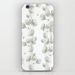 Vintage green white elegant floral illustration iPhone Skin