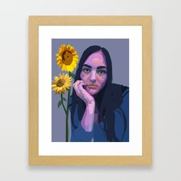 emma with sunflowers Framed Art Print
